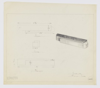 Design for drawer pull. At center right, perspective shows pull comprised of horizontally orientated, rectangular main volume with curved outer left corner wrapped at lower right by secondary material with rounded right side; this is not flush with the rear plane of the former. At upper left, plan provides dimensions and shows object depth while at center left, side elevation shows additional detail pertaining to layering of materials. At lower left, front elevation with additional dimensions. Margins ruled in graphite. Inscribed with Deskey No. 6223.