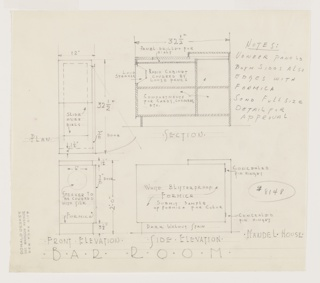 Drawing, Design for Radio Cabinet, Bar Room, Richard H. Mandel House, 323 Haines Road, Bedford Hills, NY