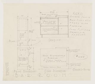 Drawing, Design for a Radio Cabinet, Richard H. Mandel House, Bedford Hills, NY