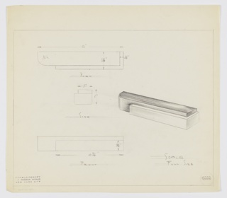 Design for drawer pull. At center right, perspective shows pull comprised of horizontally orientated, rectangular main volume with curved outer left corner wrapped at lower right by secondary material with angular edges. At upper left, plan provides dimensions and shows object depth while at center left, side elevation shows additional detail pertaining to layering of materials. At lower left, front elevation with additional dimensions. Margins ruled in graphite. Inscribed with Deskey No. 6222.