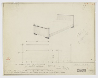 """Design for bed in either Macassar ebony and black lacquer or white sycamore, curly maple, or """"some light wood"""" for Valentine-Seaver Company/Kroehler Manufacturing Company. At upper right, perspective shows made bed with planar head- and footboards; the latter's sides curve inward while the former is flat. Object's four corners rest on rectangular feet: curved at front, straight at rear. Below, front and broken side elevations provide dimensions. Inscribed with K. No. 1020 and Deskey No. 7236. Margins ruled in graphite."""