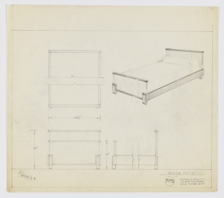 Design for bed. At upper right, perspective shows bed with rectilinear headboard and footboard, the former taller than the latter, both of whose upper edges are capped by cornice in contrasting material. Side rails rectilinear; at front, they transition into bottom edge of footboard's contrasting trim. Feet are flat, vertically-oriented oblong volumes. At upper left, broken plan with dimensions. Below, at left and right, front and broken side elevations with additional dimensions. Inscribed with K. for Kroehler Manufacturing Group. Inscribed with Deskey No. 7572. Margins ruled in graphite.