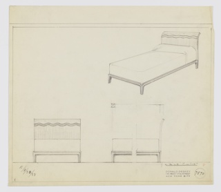 Design for bed. At upper right, perspective shows bed with headboard with two wavy lines in contrasting material toward top edge, which bends backwards. No footboard. Bed rails are thing with central register of rounded molding; feet are square-plan with rounded inside corners. Bed is made; mattress without boxspring. Below, at left and right, front and broken side elevations indicate object composition. Inscribed at lower left with K. for Kroehler Manufacturing Company. Inscribed with Deskey No. 7570.