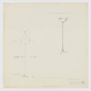 Design for torchiere lamp. At left, elevation for torchiere with polished chrome base consisting of main cylinder elevated by three tubular feet from which rises tubing in leather, lacquer, or metal finish. This terminates above in wide, circular, bowl-like shade in chrome. Above, plan provides additional view of arrangement of feet. At right, perspective view. Margins ruled in graphite. Inscribed with Deskey No. 367.