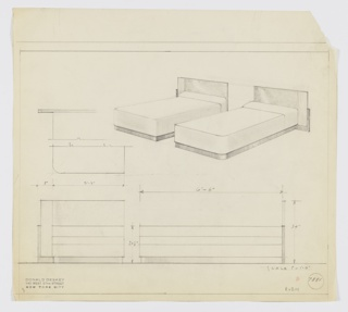 Drawing, Design for Pair of Beds