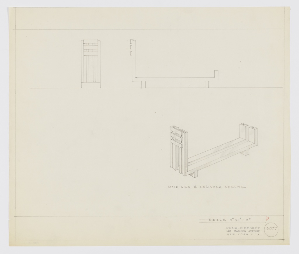 Design for andiron in oxidized and polished chrome seen in front and side elevations and perspective. Above, elevations describe andiron comprised of two brackets that run object length; at front, four vertical elements are superimposed by three horizontal ones. Object rests on two perpendicular feet, one at front and the other at rear. Perspective drawing at lower right. Margins ruled in graphite. Inscribed with Deskey No. 6047.