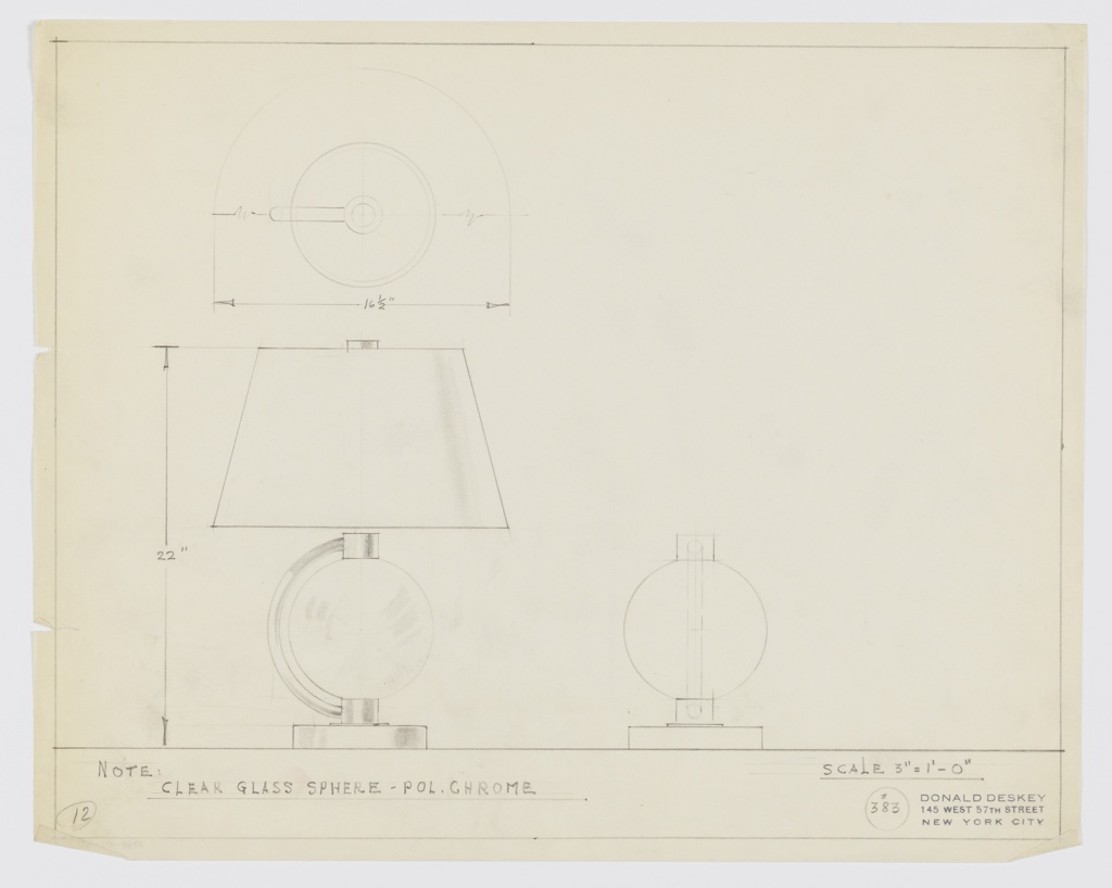 Design for table lamp of clear glass and polished chrome. At lower left, side elevation shows disk-shaped base on which rests a circular mount connected by polished chrome tubing to an identical mount above; between these mounts sits a clear glass sphere. Shade is truncated cone with disk-shaped finial. Above, plan view. Below right, front elevation of base. Margins ruled in graphite. Inscribed with Deskey No. 383.