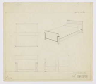 Design for bed. At upper right, perspective shows bed with rectilinear headboard supported by rear square-plan feet. Connected by rectilinear side rails to similarly planar footboard, of shorter height, and with angular, accent trim starting at three-quarters height, angling inward to exclude legs, and running along bottom edge before angling upward in symmetrical fashion. Bed is made. At upper left, broken plan describes object composition, while below, at left and right, front and broken side elevations provide further information about layout of object components. Margins ruled in graphite. Signed in graphite, lower left: K / 9/30/33; inscribed with Deskey No. 7532.
