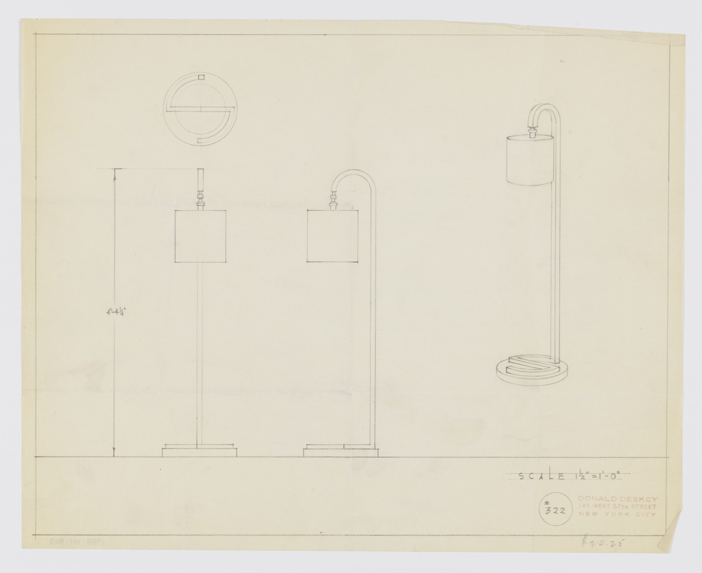 """Design for floor lamp. At right, perspective drawing of floor lamp with circular base on which a stylized S-shape of square tubing winds its way around before extending upward and curling forward to suspend a socket and cylindrical shade. At upper left, plan describes S-shaped tubing on base while below, at left and center, front and side elevations provide additional views and dimensions. Margins ruled in graphite. Inscribed with Deskey No. 322. """"$20.25"""" inscribed in lower right margin."""