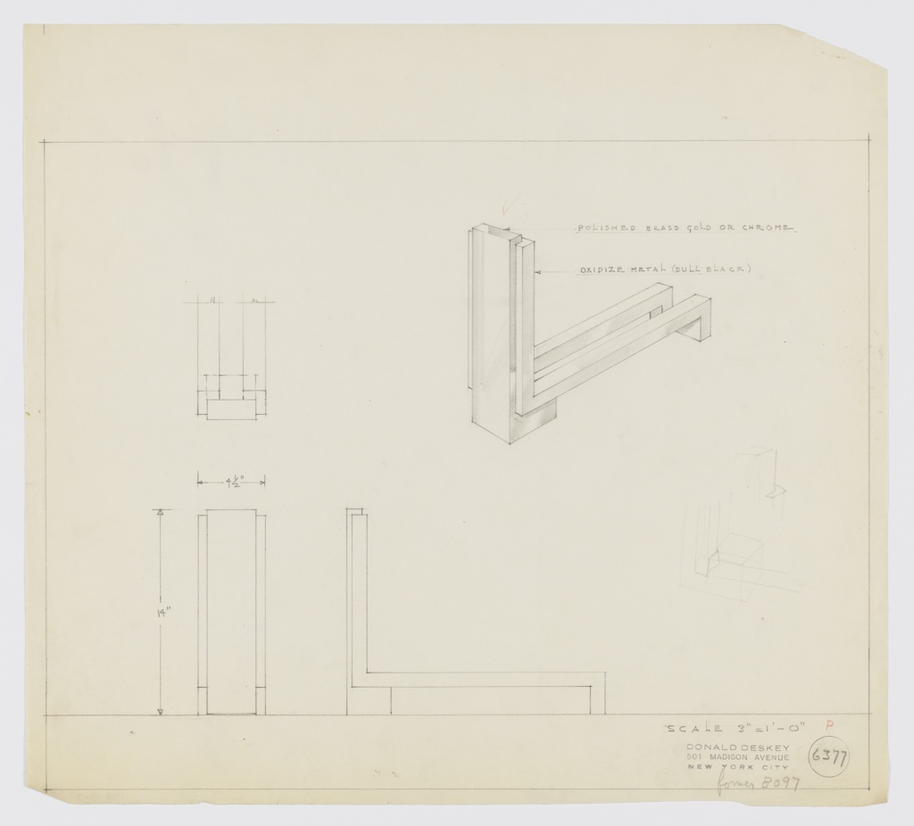 """Design for andiron in polished brass gold or chrome and oxidized, dull black metal. At upper left, rough sketch of partial object plan. At upper right, perspective shows fire dog with solid, rectangular front guard in L-shape with lower leg serving as front foot. Guard flanked on either side by smaller rectangular elements that run down sides, angle backward, and run object depth before angling again to serve as rear feet. At lower left and center, elevations provide dimensions. At lower right, very light or erased perspective sketch. Margins ruled in graphite. Inscribed with Deskey No. 6377 and scripted note: """"former 8097""""."""
