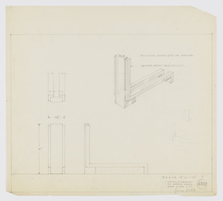 "Design for andiron in polished brass gold or chrome and oxidized, dull black metal. At upper left, rough sketch of partial object plan. At upper right, perspective shows fire dog with solid, rectangular front guard in L-shape with lower leg serving as front foot. Guard flanked on either side by smaller rectangular elements that run down sides, angle backward, and run object depth before angling again to serve as rear feet. At lower left and center, elevations provide dimensions. At lower right, very light or erased perspective sketch. Margins ruled in graphite. Inscribed with Deskey No. 6377 and scripted note: ""former 8097""."