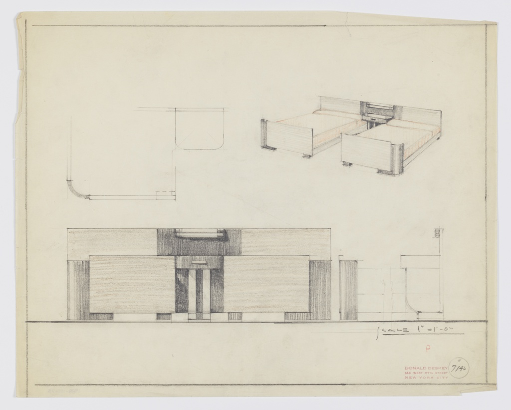 Design for pair of beds with central night table console. At upper right, perspective shows two beds with one continuous, planar headboard; the central portion is in contrasting material, and backgrounds a console night table with drawer over which two fluorescent tube bulbs are mounted. Bedframes have rectilinear runners at just-above floor level; these connect planar footboards, shorter than headboard, with curved vertical accents running height of outside corners; these form outside feet, while inside feet are rectangular. At upper left, rough plan of left bed and table. Below, at left, a front elevation further describes composition of various materials as well as curved metallic support legs of night table console. At lower right, broken section elevation describes front and rear portions of furniture grouping. Margins ruled in graphite. Inscribed with Deskey No. 7146.