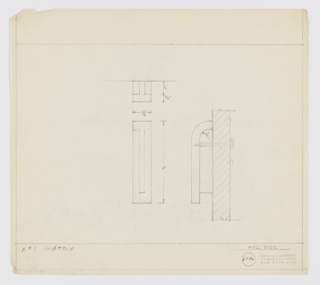 Design for drawer pull for Valentine-Seaver Company set 7764. At upper center, plan view with dimensions: T-shape set between rectangular mounts. Below center, front elevation describes overall rectangular object with interior T-shape mount extending not quite to bottom edge of object. At right, side elevation describes handle's curved upper edge and shows how object components are attached to one another and door or drawer surface by single screw. Inscribed with Deskey No. 6146. Margins ruled in graphite.