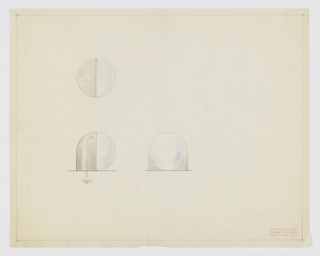 Drawing, Design for Spherical, Bichrome Drawer Knob