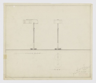 Design for floor lamp. At left, object shown in side elevation; circular base in three registers, the middle of which with narrower circumference and in different material, from which rises a shaft that holds tubing in different material. At top of tubing three horizontal streamlines wrap circumference, seemingly in same material as larger base shaft. Above streamlines, sphere with cap that covers almost entirety of ball and serves as base for narrower shaft that reaches up to hold cantilevered arm, kept in place by spherical finial. Arm is flat ribbon that extends rightward, angles up, then curves back leftward and suspends squat cylindrical shade. At right, front elevation view. Below, at right, a plan describes footprint of circular base and shade. Inscribed with Deskey No. 3013 (struck through) and date 3/25/36. Margins double-ruled in graphite.