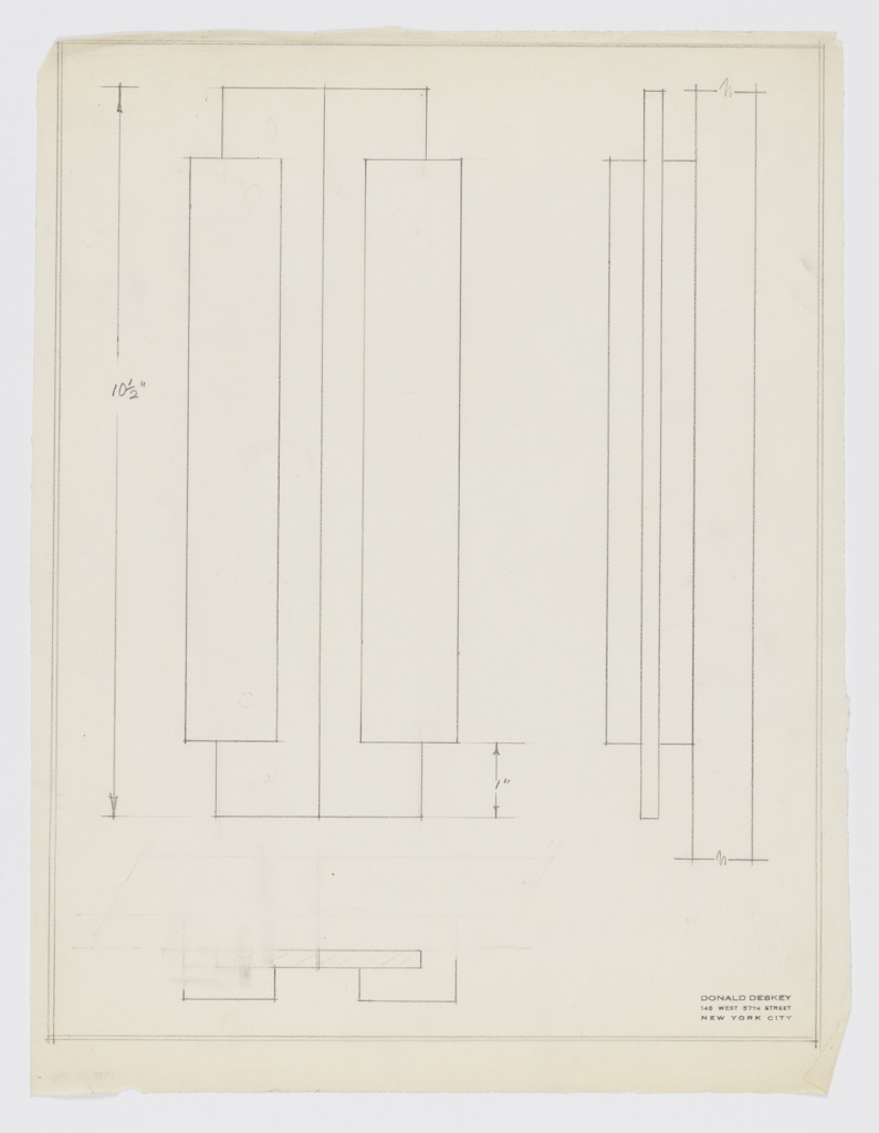 Design for cabinet door pull, vertically oriented drawing. At left, elevation shows pair of vertical rectangular pulls, each comprised of two rectangular volumes. Longer volume situated behind shorter volume. At right, side elevation describes layered effect of left-side pull and shows that longer segment is set into shorter one at mid-depth. Below, partially erased plan wherein taller volume indicated in red color pencil striations, possibly indicating wood as intended material. Margins double-ruled in graphite.