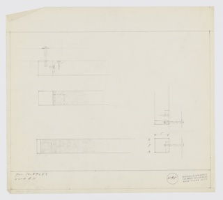 Design for drawer pull for Luce Manufacturing Company set 7683. At upper left, plan detail of screw mounts of object components and drawer mount. Below, additional spec. At lower left, similar plan as above but edge component narrower. At right, plan and side elevation provide additional views of screw mounts. Inscribed with Deskey No. 6145. Margins ruled in graphite.