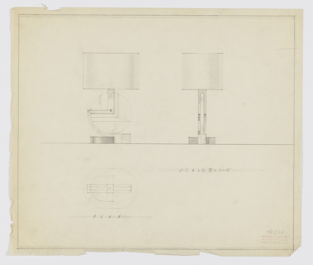 Design for table lamp. At upper left, object seen in front elevation: ovoid base is partially wrapped by secondary material which curves upward before angling left and then upward again to support socket. This element brackets and is secured by screw or rivet to vertically oriented disk-shaped body with angular surface or material decoration. Shade is ovoid. At right, side elevation. Below left, plan view. Inscribed with Deskey No. 3014. Margins ruled in graphite.