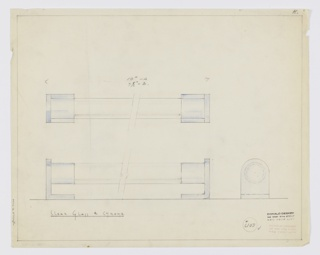 "Design for drawer pull in clear glass and chrome. Above, broken front elevation shows cylindrical clear glass handle set between chrome mounts; dimensions provided for two different size pulls. Below at left, broken plan reveals that mounts are L-shaped brackets that angle inward where affixed to drawer or door surface and extend outward to hold pull/ At lower right, side elevation. Margins ruled in graphite. Inscribed with Deskey No. 6103 and ""K"" for Kroehler Manufacturing at upper right margin."