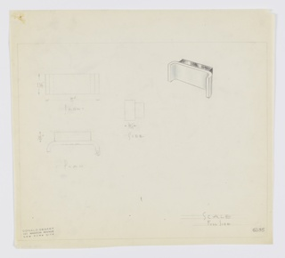 Design for drawer pull. At upper right, perspective shows two-piece drawer pull: posterior volume is rectangular and would be mounted directly to drawer or cabinet front, while anterior volume is open, bracket-like shape in contrasting material. At upper left, a front elevation; at center, a side elevation; and center left, a plan view each with dimensions. Margins ruled in graphite. Inscribed with Deskey No. 6255.