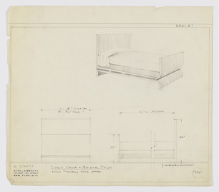 Design for bed in solid maple with enamel finish with round, band sawed corners. At upper right, perspective shows bed with head- and footboards that appear to be one continuous piece: headboard is rectilinear and angles at bottom before extending forward and curving upward to create footboard. These are braced or connected by rectilinear side rails. The bed rests on base whose outline is an inverse of the upper structure, with a rectilinear length serving to support headboard and a curved one for the footboard. Between two sections is a thin platform. Below at left and right, elevations provide dimensions for both a single and double bed. Margins ruled in graphite. Inscribed with Deskey No. 7254.