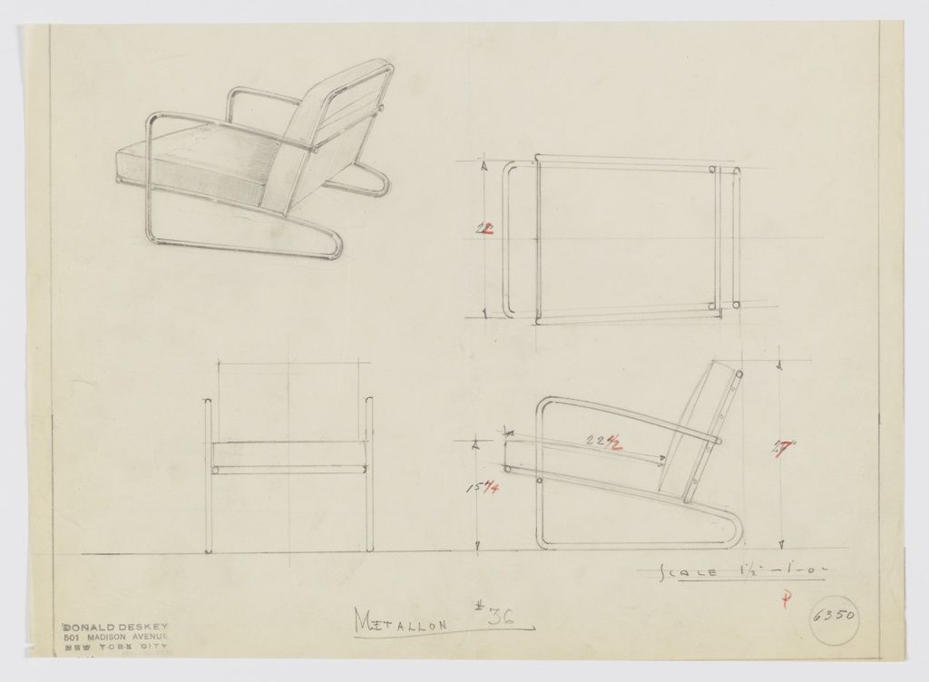 Design for upholstered armchair seen in rear perspective, plan, and elevations. One-piece tubular Metallon frame with upright front legs and curved rear legs supports angled rectangular seat cushion and backrest. Inscribed with Deskey No. 6350 and Metallon No. 36.