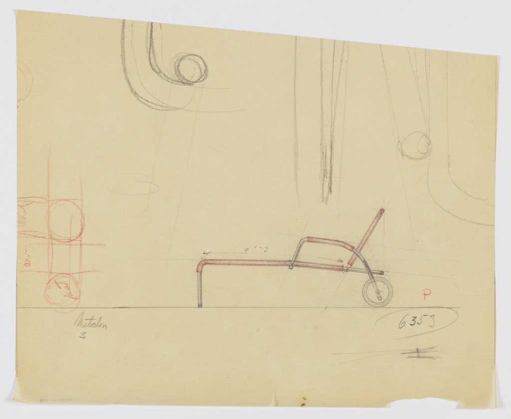 Cropped design for portable chaise longue seen in side elevation. Tubular metal frame features upright legs at front that angle backward to support stretched textile seat and back. Arms rise up from primary frame, are wrapped in textile, and arc backwards terminating in large wheels. Secondary rough sketch in red color pencil at right; large sketch in graphite above. Inscribed with Deskey No. 6353.
