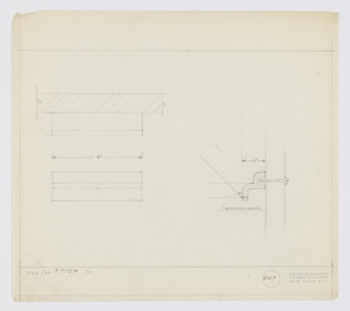 "Design for drawer pull for Kroehler set 7527. At lower right, side elevation describes extruded drawer pull with two cascading tiers with rounded edges affixed to drawer front by screw. At upper left, plan shows relative depths of object tiers, while below, elevation provides additional view. Margins ruled in graphite. Inscribed with Deskey No. 6147 and, at lower left: ""FOR SET #7527 KR.""."
