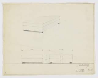 Design for bed or divan. Above, perspective shows rectangular mattress or upholstered cushion supported by deeper upholstered side and front rails with curved corners. Front and rear of object supported by rectangular feet that run its width. Below, front and broken side elevations provide dimensions; note that depth of mattress and support are equal in elevations but not perspective. Margins ruled in graphite. Inscribed with Deskey No. 7338.