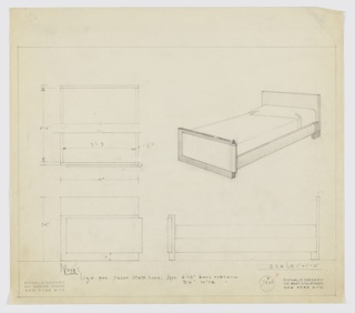 Design for bed for Anne Wrigley yacht stateroom. At center right, perspective for bed with planar headboards extending to ground. Connected to footboards by rectilinear rails; footboard is asymmetrical: outer edges curved while inner edges planar. Footboard wrapped by secondary material extending inward from right edge and not covering entire width of footboard. Below, at left and right, front and side elevations with dimensions. Above left, broken plan provides additional dimensions. Note indicates design is for yacht stateroom. Margins ruled in graphite. Inscribed with Deskey No. 7486.