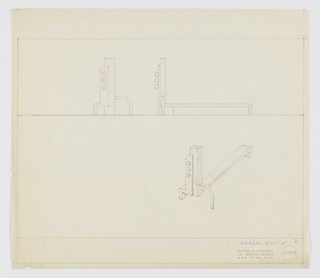 Design for andiron. Above, front and side elevations describe decorative elements including primary, vertical rectangular element buttressed at right by tubular length while at left, angled buttress supports secondary vertical element with curved upper-left corner and three spheres. At rear, andiron supported by right-angled foot. Below, at right, perspective provides additional view. Margins ruled in graphite. Inscribed with Deskey No. 6048.