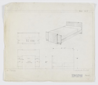 Design for bed. At upper right, perspective shows bed with planar head- and footboards, the latter taller than the former. Both are wrapped, at center, by contrasting material that curves over top edge. Headboard extends to ground, serving as foot, while footboard rests on top of secondary planar support. Boards connected by planar side rails. At upper left, broken plan provides dimension for both single and double bed. Below, at left and right, front and broken side elevations provide additional dimensions, again for both single and double bed. Inscribed in graphite, lower left: L. 10/17/1933; inscribed with Deskey No. 7555. Margins ruled in graphite.