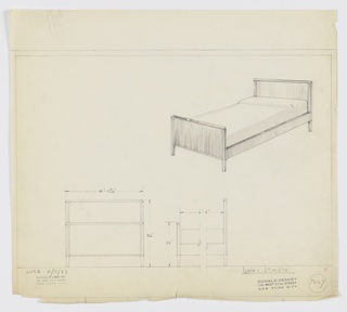 Design for bed. At upper right, perspective of bed with rectilinear headboard trimmed in contrasting material and slightly tapering feet. Rectilinear side rails connecting headboard to shorter footboard of similar design. Below, at left and right, front elevation and broken side elevation provide dimensions. Inscribed with LUCE (Luce Furniture Co.) and Deskey No. 7667. Margins ruled in graphite.
