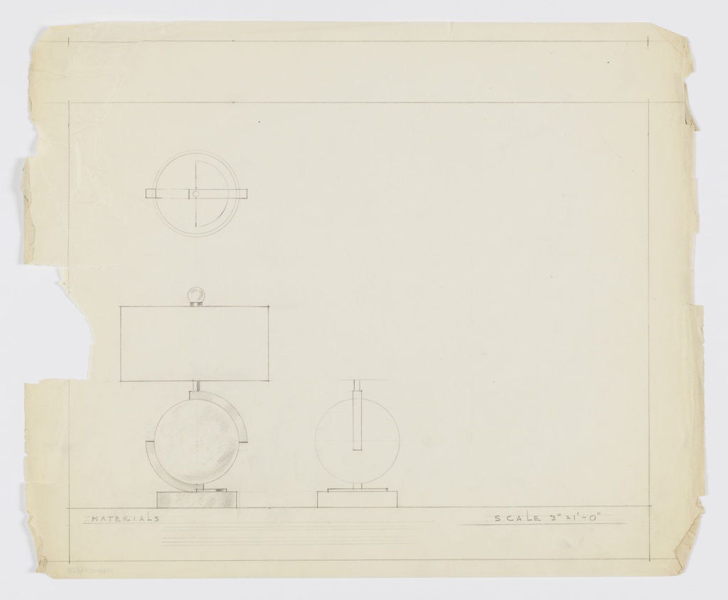 Drawing, Design for Table Lamp with Spherical Base