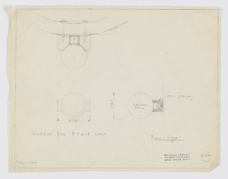"Design for chest handle in crystal and polished chrome. Above, at left, plan describes how pull would be mounted to chest drawer by two screws through the mount. Handle is spherical ball in crystal set into rectangular mount with rounded front corners, oriented horizontally. Below, elevation provides overall object width while at right, side elevation describes height and relative size of mount. Margins ruled in graphite. Inscribed with Deskey No. 6125 and, at lower left, memo ""9/15/33 to S.H.K."" meaning Schmieg, Huntgate, and Kozian (manufacturer). Possible for Abby Aldrich Rockefeller Milton apartment."