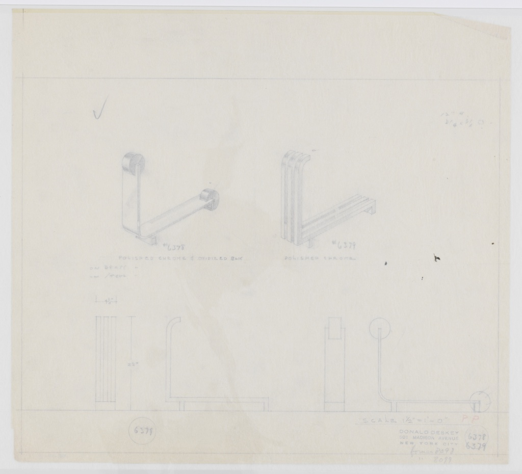 Two designs for andirons shown in perspective with front and side elevations below. At upper left, perspective for Deskey No. 6378 shows rectangular vertical guard with perpendicular disc finial; guard curves backward to serve as log rack and terminates in second disc as foot. At front, guard supported by rectangular foot. Front and side elevations at lower right. Intended materials are polished chrome and oxidized black on brass or steel. At upper right, perspective for Deskey No. 6379 shows vertical guard consisting of three square-plan lengths that terminate in backward curve at top. These bend at ninety-degree angle below and extend backward, serving as log rack, and angle downward to form rear foot. At front, supported by rectangular foot. Front and side elevations at lower left. Intended material is polished chrome. At center right, black smudges that stick to both interleaving and Mylar housing. Margins ruled in graphite.