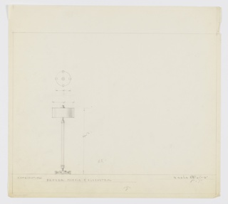 Design for floor lamp in bronze, marble, and alabaster. At left, elevation of object with circular base elevated by four semi-oblong feet. From this rises tulip-shaped mount for length of tubing that terminates above in similar, inverted tulip-shape that supports lamp socket. Squat cylindrical shade with spherical finial resting on small disk. Above, object shown in plan. Margins ruled in graphite.