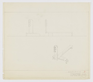 Design for andiron. Above, front and side elevations. Below, at right, perspective shows asymmetrical andiron comprised of rectangular front guard with curved top-right corner and three rectangular accents wrapping upper left edge that extends rearward to serve as log rack. This is supported at rear by rectangular foot and at front by bracket with right-angled left foot and downward curving right edge. Margins ruled in graphite. Inscribed with Deskey No. 6049.