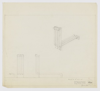 Design for andiron. At center right, perspective shows fire dog with rectangular front guard that angles outward above; this lip is intersected by three lengths of tubing that extend downward and bend backward, through the guard, to create log rack before bending downward to act as rear feet. Front and side elevations at lower left and center. Margins ruled in graphite. Inscribed with Deskey No. 6320 (formerly 8100).