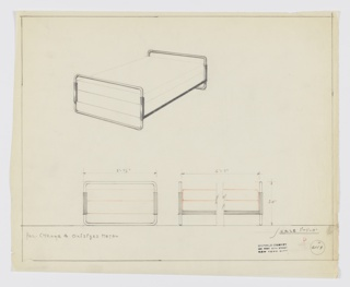 Design for bed in polished chrome and oxidized metal. At upper left, perspective shows bed with tubular metal head- and footboards with rounded corners connected by rectilinear bracket of different material. Bed pictured with box spring and mattress. Below, elevations in graphite provide dimensions while mattress and boxspring shown in red color pencil. Margins ruled in graphite. Inscribed with Deskey No. 6119.