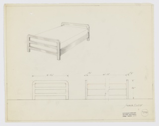 Design for bed. Above left, perspective shows bed with identical open-frame head- and footboards consisting of three levels of flat railing with rounded corners. These are connected by planar bedrails; four square-plan feet lift object off the floor. Below, front and broken side elevations provide dimensions; mattress indicated by orange color pencil. Inscribed with Deskey No. 7356; margins ruled in graphite.