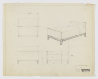 Design for bed for Kroehler Manufacturing Company. At upper left, broken plan describes planar headboard with angular corners and bi-layer footboard with angular corners wrapped by secondary layer with rounded corners. At upper right, perspective shows made bed with taller headboard resting between square feet integrated into frame, which extends to foot of bed, wrapping planar footboard in rounded corners at bottom. Below, left and right, elevations provide additional dimensions. Margins ruled in graphite. Inscribed with Deskey No. 7192.