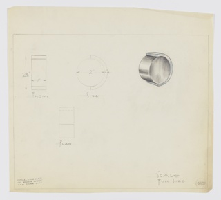 Design for squat cylindrical drawer knob. At upper right, perspective view shows vertically-oriented, squat cylindrical knob set into posterior mount in contrasting material that wraps half its circumference. At far upper left, front elevation; at upper center, side elevation; and below, at left, a plan view (the first two views with dimensions). Margins ruled in graphite. Inscribed with Deskey No. 6237.