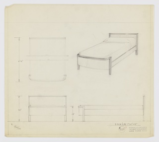 Design for bed. At upper right, perspective shows bed with rectilinear headboard with contrasting material wrapping upper and side edges and extending downward to form rectangular feet. Rectilinear side rails connect headboard to footboard, which has no corners and is instead a curved plane, also trimmed at sides and across top with contrasting material; this material, again, extends downward to form front feet. At upper left, broken plan with dimensions. Below, at left and right, front and side elevations provide additional dimensions. Inscribed with K for Kroehler Manufacturing Company. Inscribed with Deskey No. 7585. Margins ruled in graphite.