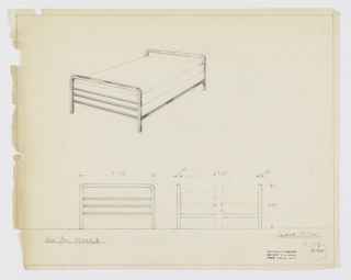 Design for bed in polished chrome. Above, perspective shows bed frame with identical head- and footboards consisting of inverted U-shaped frame and three horizontal tubes; these are connected by rectilinear bars. Below, front and side elevations provide dimensions. Margins ruled in graphite. Inscribed with Deskey No. 6120.