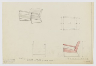 Design for upholstered armchair seen in perspective, plan, and elevations. Tubular metal frame extends down from upholstered arms at front to hold seat before angling backward along the floor line, then upward at acute angle to provide additional support for arms as well as back. Arms, back, and seat upholstered; the latter slopes upward at front. Inscribed with Deskey No. 6078.