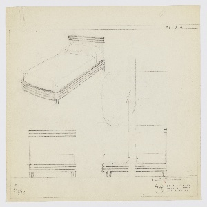 Design for bed. At upper left, perspective drawing shows bed with planar headboard accented by three horizontal streamlines at top. Side and foot rails of same height; they start at lower sides of headboard and wrap around mattress with curved front corners. Rails also feature streamline decoration, possibly in metal. Feet are rectilinear with accent trim on either side that extends downward from lowest register of side- and foot rail decoration. At center right, very rough broken plan. At lower left and right, front and broken side elevations provide additional views of object and its decoration. Margins ruled in graphite. Signed K. / 9/30/33; inscribed with Deskey No. 7548.