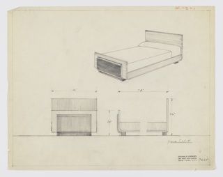Design for bed for Widdicomb Furniture Company. At upper right, perspective shows bed with planar headboard and footboard, connected by rail with curved corners at front and rear. Footboard sheathed in secondary surface in contrasting material, also with curved lower edge. Object rests on rectangular feet that run its width. Below, front and side elevations provide dimensions; in side elevation at lower right, headboard shown with angled rather than curved lower corner. Inscribed with Deskey No. 7225. Margins ruled in graphite.