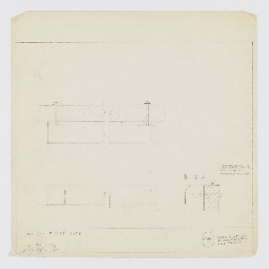 Design for drawer pull for Luce Furniture Company set 7668. At upper left, broken plan describes object's screw mounts. Below, at left, broken elevation. At lower right, section or side elevation describes rectangular pull with curved top, outer edge affixed so top is flush with top of drawer front. Inscribed with Deskey No. 6144. Margins ruled in graphite.