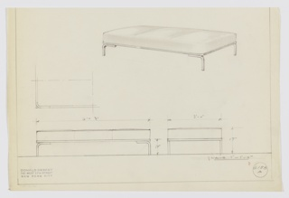 Design for low upholstered bench shown in perspective, partial plan, and elevations. Oblong upholstered cushion with rounded edges sits on frame of rectangular tubular metal; at four corners and parallel to long sides, curved lengths of the same tubular metal extend downward from frame as legs. Inscribed with Deskey No. 6158 A.